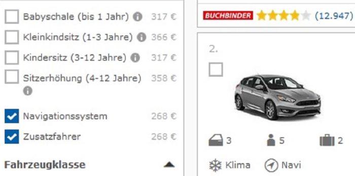 Auch bei Check24 macht das Navi das Mietauto teuer.
