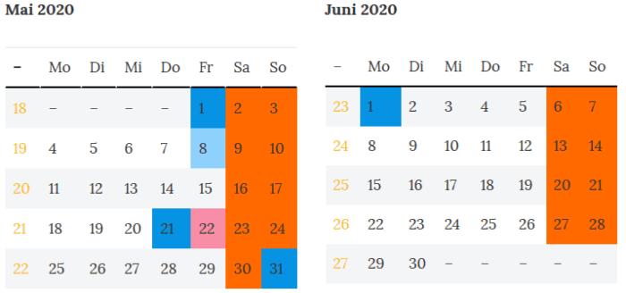 Brandenburg Brueckentage Mai-Juni 2020