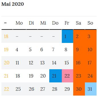 Brückentag Rheinland-Pfalz zu Christi Himmelfahrt - Mai 2020