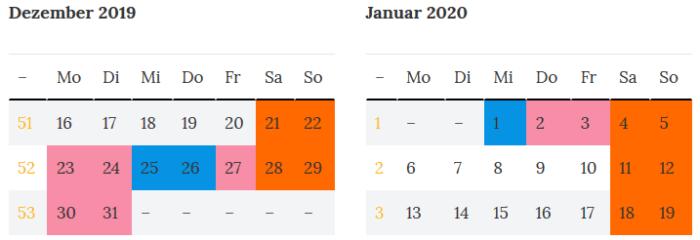 Brandenburg Brueckentage Dez 2019 - Jan 2020