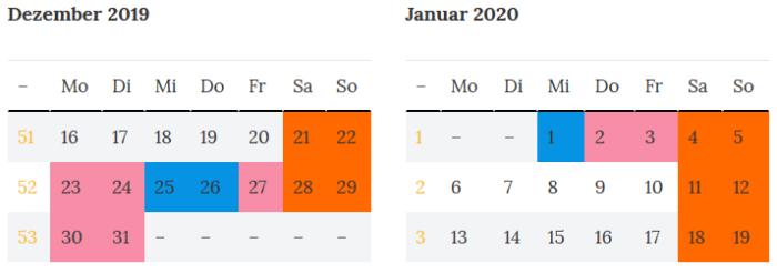 Bremen Brueckentage zur Jahreswende 2019 - 2020