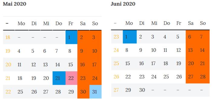 Brueckentage Bremen Mai - Juni 2020