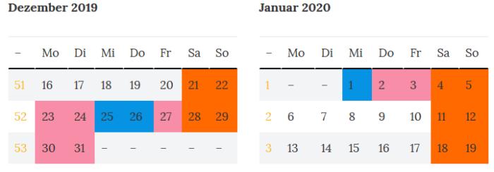 Brueckentage Hamburg Jahreswechsel 2019-2020