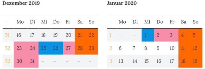 Schleswig-Holstein Brueckentage Jahreswende 2019 - 2020