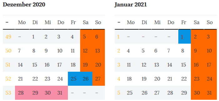 Schleswig-Holstein Brueckentage Jahreswende 2020 - 2021