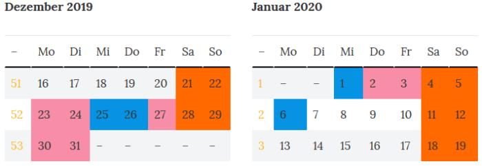 Sachsen-Anhalt Brueckentage Jahreswende 2019 - 2020