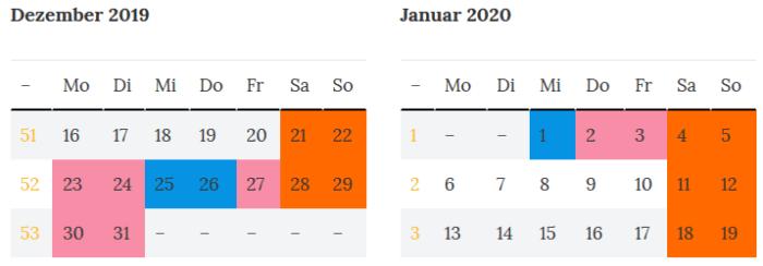 Saarland Brueckentage zur Jahreswende 2019 - 2020