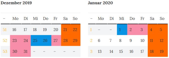 Sachsen Brueckentage Dez. 2019 - Jan. 2020