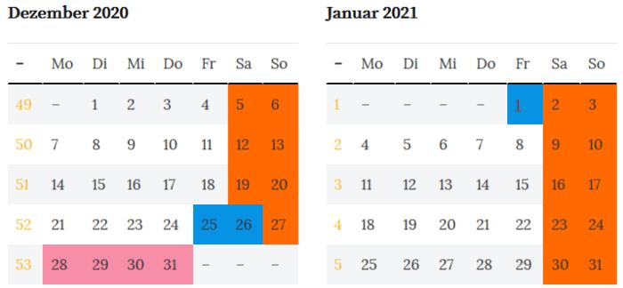 Sachsen Brueckentage Dez. 2020 - Jan. 2021