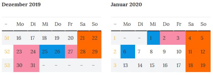 Thueringen Brueckentage um die Jahreswende 2019 -2020