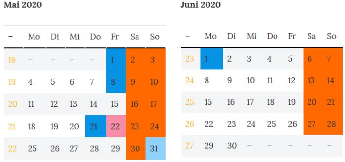 Berlin Brueckentage Mai - Juni 2020